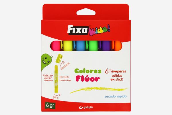 caja de 6 témperas solidas en stick Fixo Kids colores fluor - refrencia: 00035299