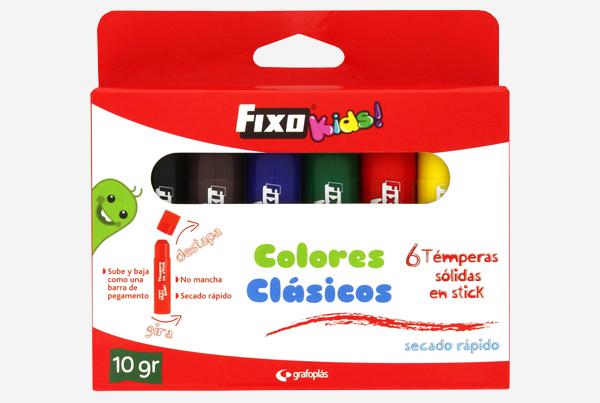 Caja de 6 témperas sólidas colores clásicos Fixo Kids - Referencia: 00 03 53 99