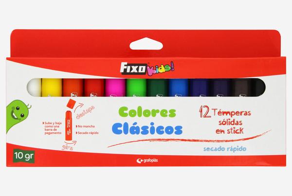 caja de temperas solidas colores clásicos Fixo Kids - Referencia: 00 03 54 99