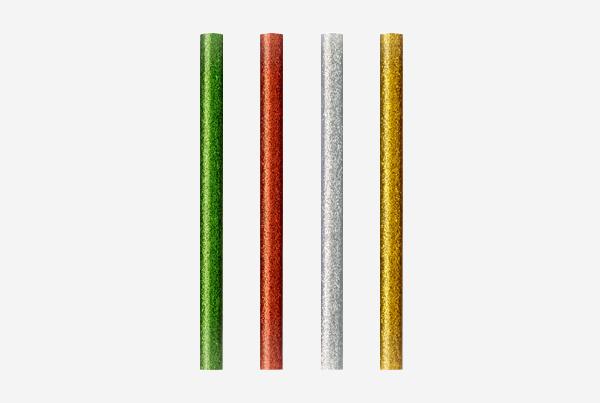 barras de cola Glitter en cuatro colores: verde, rojo, plateado y dorado. Permiten pegar plástico, madera, papel, goma EVA, fieltro. Blíster de 12 barras: 00 05 85 99