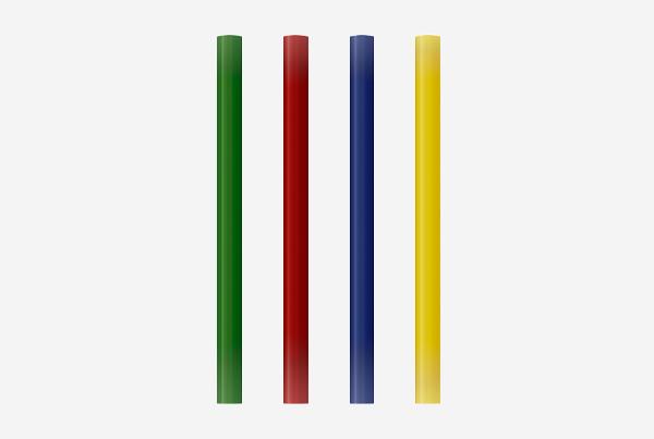 Barras de cola de colores: verde, rojo, azul, amarillo. Permite pegar plástico, madera, papel, goma EVA, fieltro. Blíster de 12 barras. Referencia: 00 05 86 99