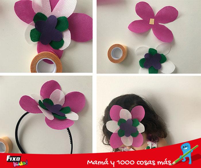 cómo hacer una diadema de flores con tela no tejido