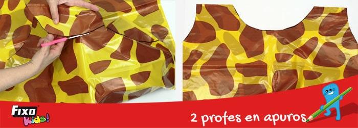 disfraz de jirafa con bolsa impresa de fixokids