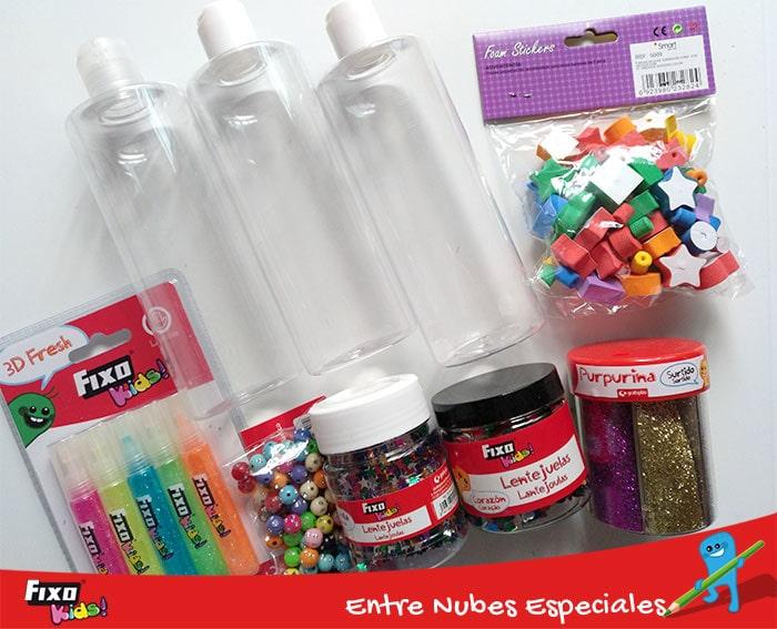 actividades montessori: materiales fixo kids para hacer botellas sensoriales