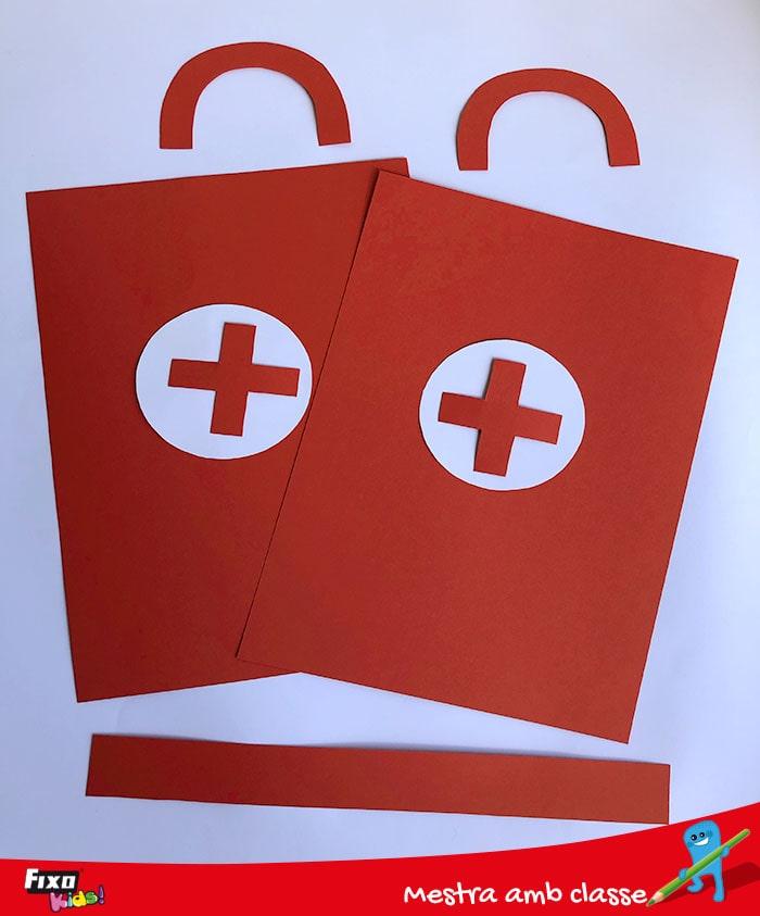 cómo hacer un maletín para medicos de cartulina