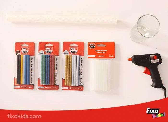 pistola de cola fixo glue y barras de cola glitter, colores y transparentes