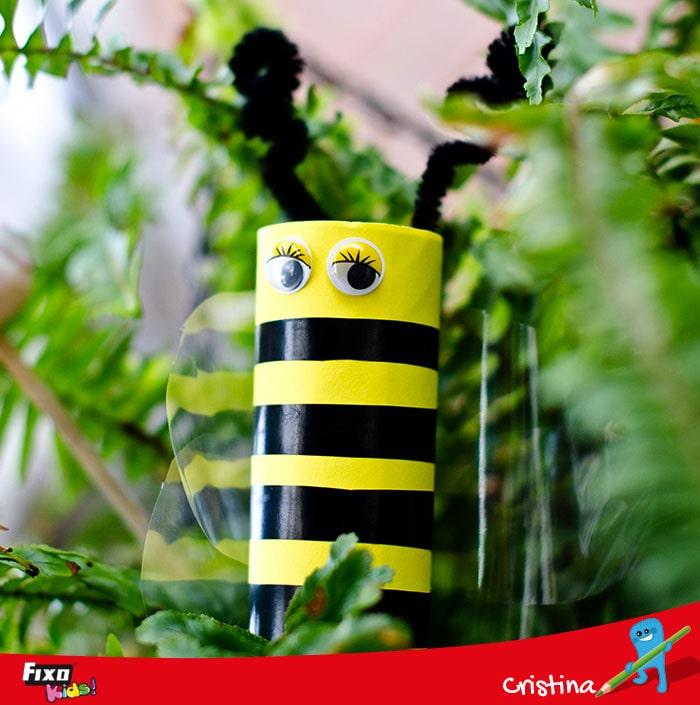 abeja con rollo de papel manualidaes niños