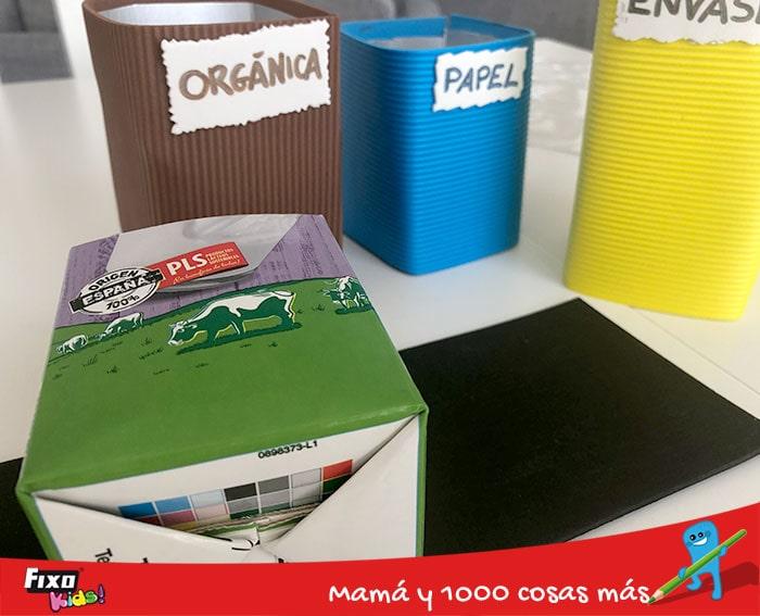 cómo hacer un organizador de escritorio con cartones de leche