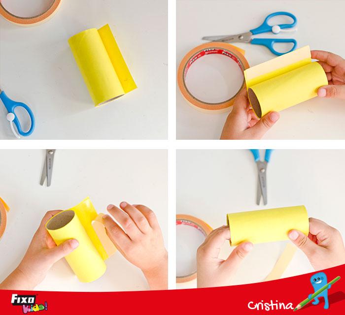 cómo hacer una abeja con rollos de papel higienico