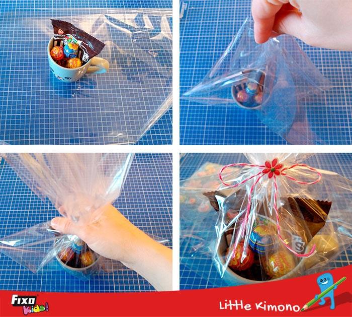 como envolver regalos con papel celofan