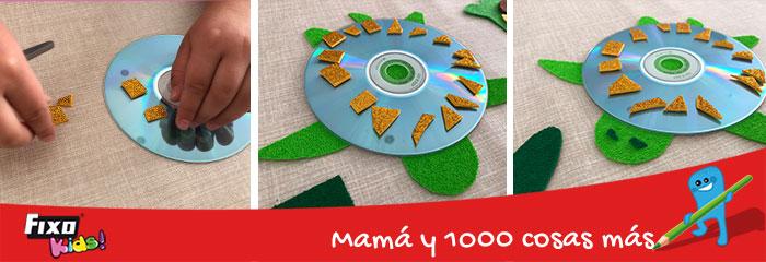 como hacer una tortuga con un cd