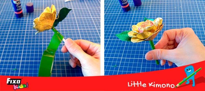 fixo color verde adhesivos para hacer flores