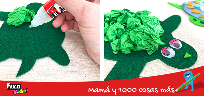manualidades infantiles tortugas con papel de seda