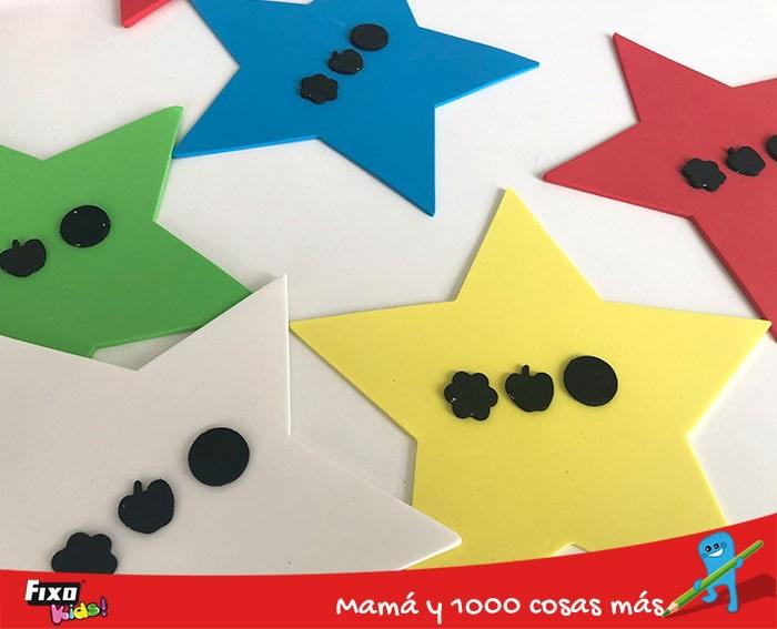 juegos con estrellas de goma eva