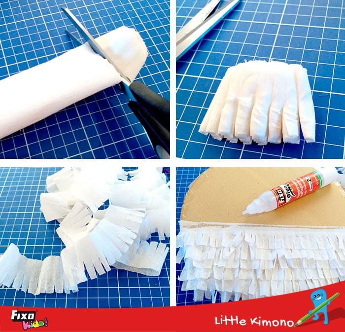 como hacer flecos con papel crespon para decorar