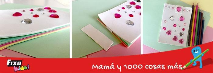 decorar cuadernos con adhesivos fixo kids