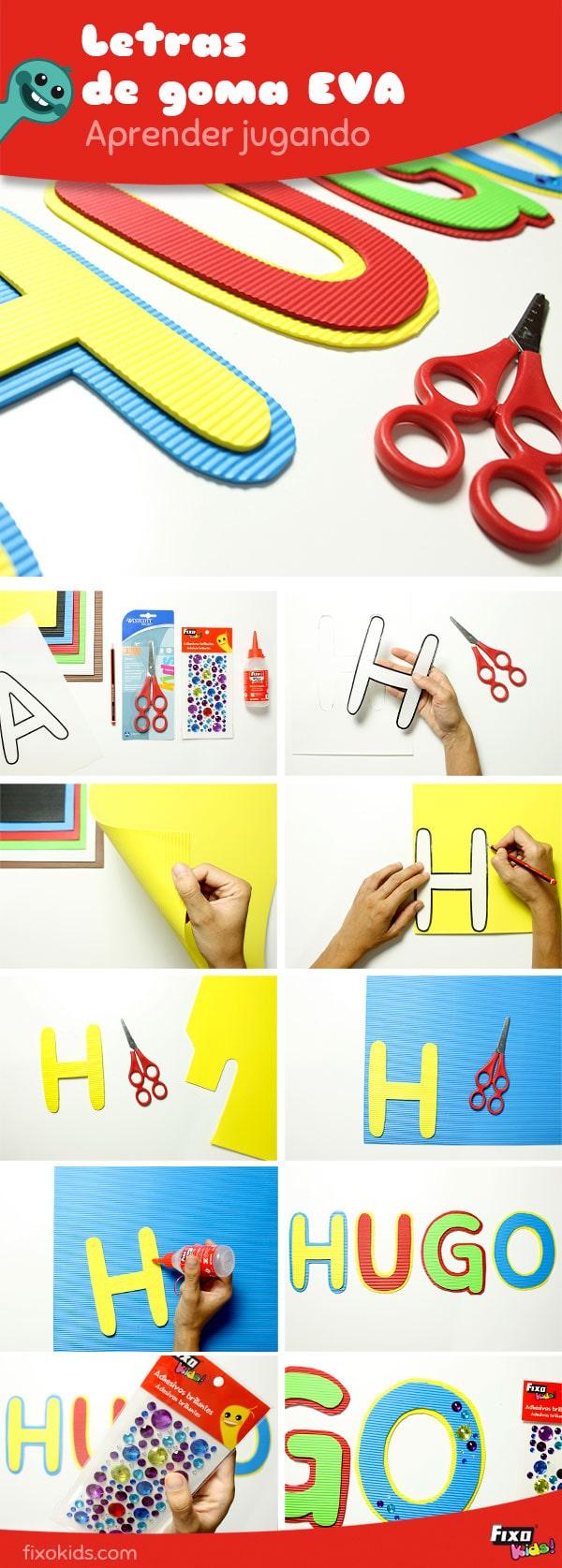 tutorial para hacer letras con goma eva corrugada