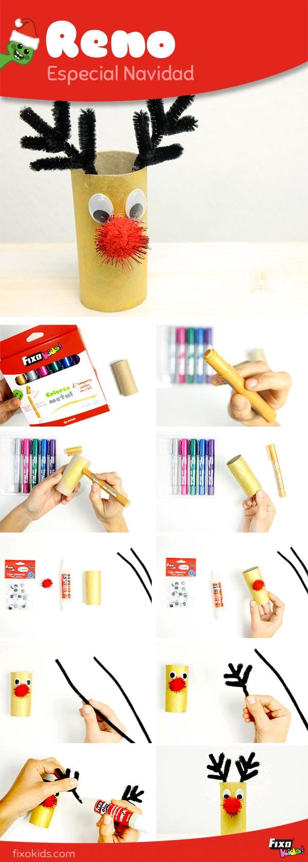 tutorial reno con rollos de carton