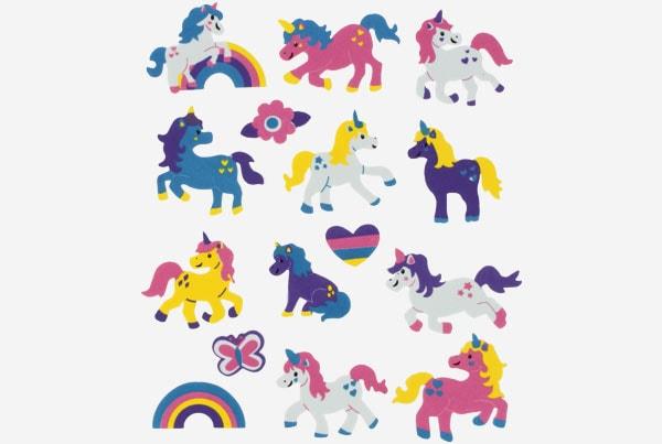 Referencia 68016500 Figuras goma Eva Adhesiva 3d unicornios fixo kids