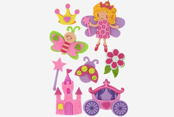 referencia 68016600 Figuras goma Eva Adhesiva 3d Princesas fixo kids