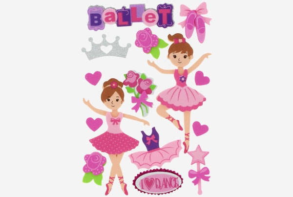 referencia 68017200 Figuras goma Eva Adhesiva 3d bailarinas Fixo Kids