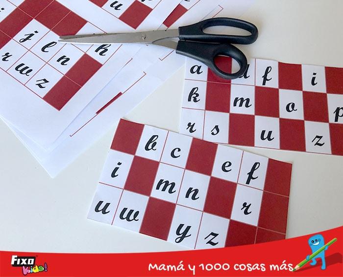 fichas para jugar al bingo de las letras descargables gratuitos