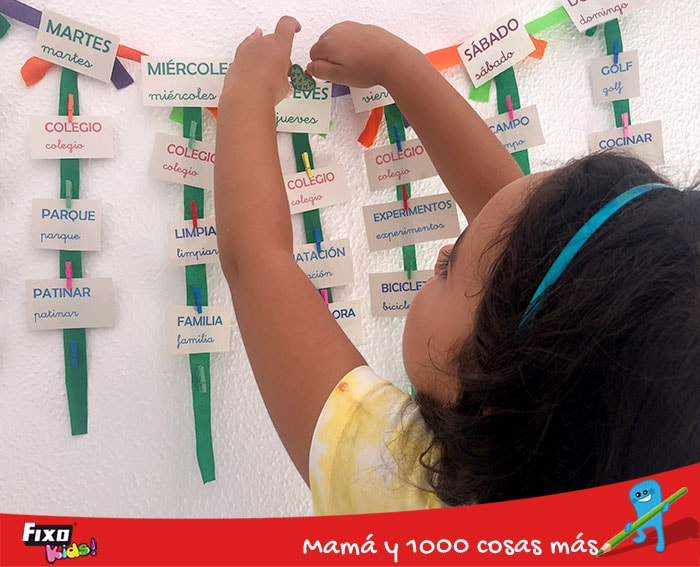 calendario semanal infantil