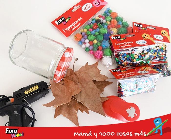 material de manualidades para hacer bote sensorial de otoño