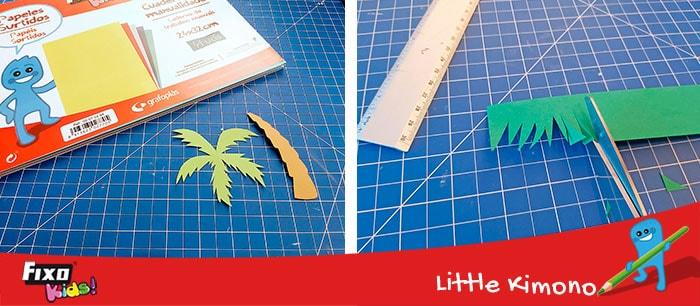 Plantilla descargable gratis para hacer palmeras con cartulina de colores