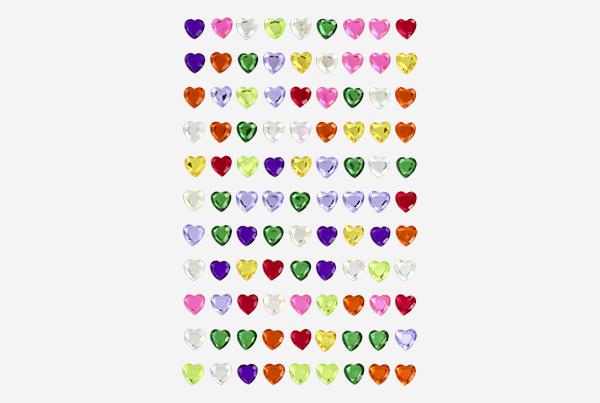 adhesivos brillantes corazones colores surtidos
